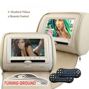 2 монитора c подголовниками для автомобиля с DVD бежевые 9 дюймов