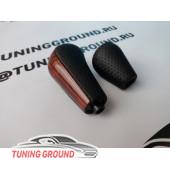 Ручка селектора КПП и раздатки коричневое дерево на Land Cruiser Prado 120